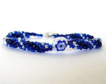 Dark Blue Beadwork Bracelet Blue and White Flower Bracelet Cobalt Blue Millefiore Spiral Beadwoven Jewelry Bead Weaving