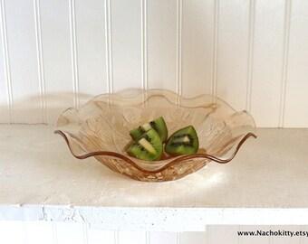 Retro Peach Glass Serving Bowl, Vintage Depression Glass Centerpiece