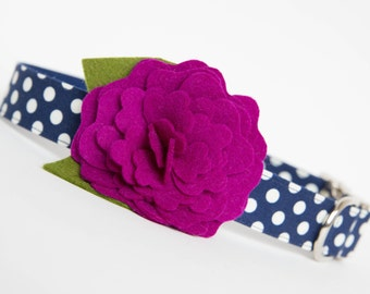 Dog Collar with Flower - Plum Camellia on Navy Polka Dots