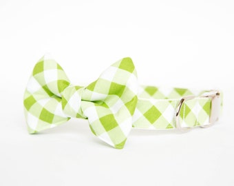 Bow Tie Dog Collar - Apple Green Gingham