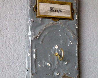 SMALL & MIGHTY Hook Rack for Keys and Jewelry / Antique Ceiling Tin / Industrial / Architectural Salvage Decor