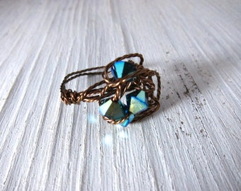 Wired Crystal Ring, Blue Swarovski Crystal