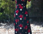 1970's Red Rose and Daisy Print Black Maxi Dress Extra Small-Small