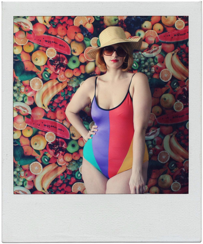 plus size swimsuit / rainbow swim suit / 1980s / XL