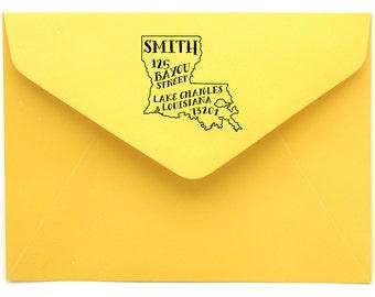 Louisiana Personalized Return Address State Stamp
