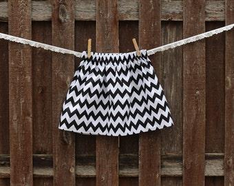 Black and White Chevron Skirt,  Girls Chevron Skirt, Black and White Zig Zag