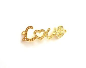 1pc- Matte Gold plated LOVE letters pendant -55x15mm- (006-009GP)