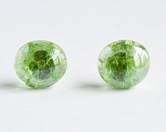 Delicate shattered glass marble stud earrings in green apple