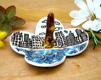 City & Sea Keepsake Ring Dish - HandMade Rustic Stamped Cobalt, Sky Blue Buildings, Water Clouds Jewelry Holder - Wedding Bridal Shower Gift