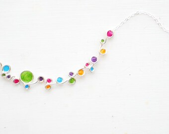 Joyful Necklace, Inspirational Jewelry, Silver Rainbow Pendant, Fun Summer Fashion, 1st Anniversary Gift, Traditional Wife Gift, Colorful