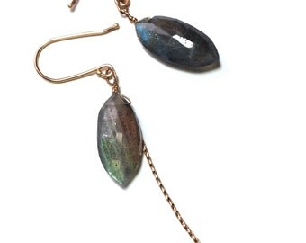 Labradorite MINA GOLD FRINGE Earrings, | Ready to Ship | Drop Earrings with 14k Gold, Your choice of Smoky Quartz, Praisolite...