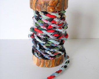 Handmade Fabric Cord 2 Ply from Cotton Fabric Remnants 5 Yards on Rustic Wood Spool