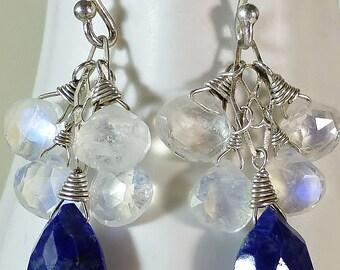 Lapis, rainbow moonstone, blue & white gemstone drop earrings,dangle earring,something blue,silver and blue,gemstone earrings,cute earrings