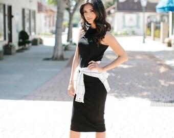 Womens Classic Black Dress Stretch Mid Length Lamixx Dress