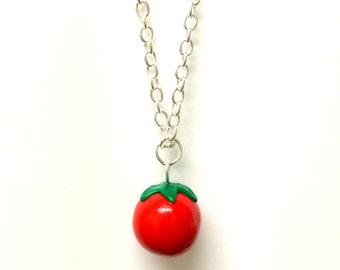 Polymer Clay Tomato Fruit Vegetable Necklace Tomatoes, tomato charm, tomato gift, gardener gift, handmade tomato, vegetarian gift