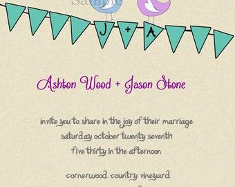 Banner Birds Wedding  Invitations