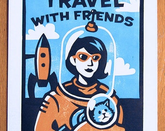 "Travel with Friends - 11""x14"" Space Cat Travel linocut print"