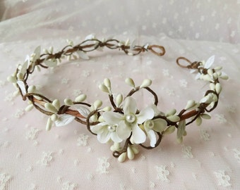 bridal hair vine, ivory bridal headband, bridal hair piece, wedding hair accessories flower, floral hair accessory, cream floral headband