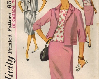 1960s Simplicity 5320 Vintage Sewing Pattern Misses Suit and Blouse Size 14-1/2 Bust 35, Size 22-1/2 Bust 43