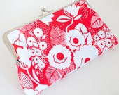 Cherry Red Clutch, Kiss Lock Frame, Red and White Vintage Floral