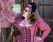 Steampunk Bustle Dress - Victorian Madam- Corseted Jacket Top - Historical Wedding- Courtesan Gown Silk or Cotton - Custom to Order