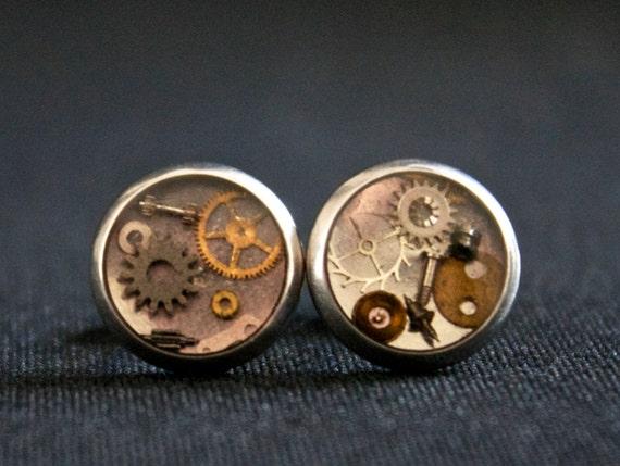 Steampunk Watch Part Earrings - Post Earrings - Stainless Steel - Unisex