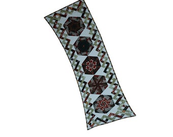 Table Runner Modern Kaleidoscope Blocks Quilted Patchwork One of a Kind Free Shipping