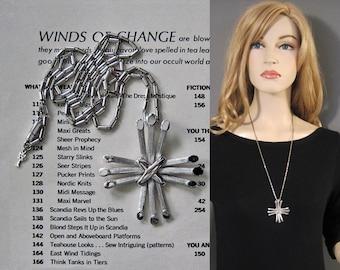 Vintage 70s Necklace Trifari Modern Silver Star Cross Textured Bar Pendant