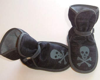 Black(ish) Denim with Stone Blue Skulls/Crossbones - Awesome booties, boots