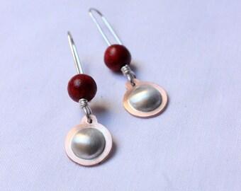 Dangle Sponge Coral earrings  made of  Sterling silver and copper, Small Red earring, Drop earrings,  Dainty Everyday Earrings