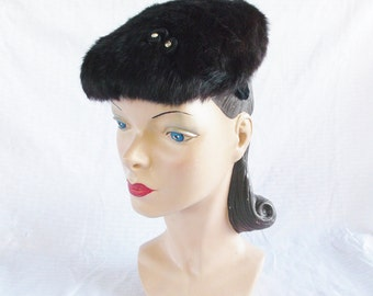 Clearance 1950's Vintage Beaver Fur Hat with Rhinestones