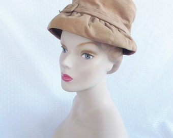 50's 60's Vintage Brown Suede Hat with Self Buckle by Lecie