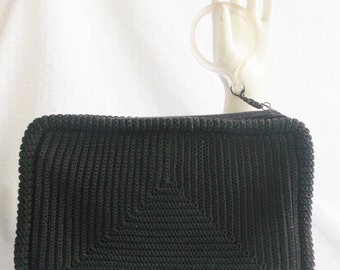 1940's Vintage Large Black Crochet Clutch Purse with Large Lucite Zipper Pull