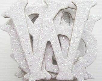 WHITE - GLiTTER Chipboard Letters - Alphabet Die Cuts 1.5 inch - 50 Pieces