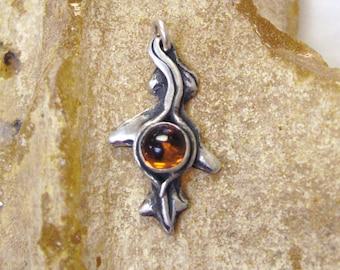 Oak Leaf, autumn color, leaf pendant, oak pendant, golden orange, amber, sterling silver jewelry, mens jewelry