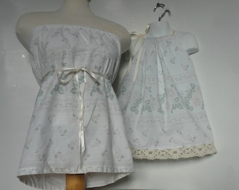 Mother Daughter Clothing. Matching Mother Daughter. Mommy and Me Matching. Tube Top and Pillowcase Dress. Enchanted Forest. Eco Friendly.