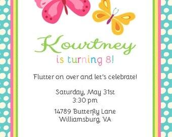 Butterfly Flutter Printable Invitation PDF Blue Border