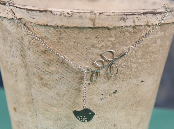 Lariat Bird necklace, Silver, branch, chubby bird, Unique,  nature-inspired, sparrow, womens, girls, bird jewelry, Handmade in Santa Cruz