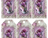 Jewelry Holder Digital Collage Sheet Printable Tags Victorian Rose In Lavender Image 1260