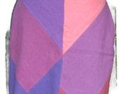 Hemp and Tencel Linen Bias Cut Drawstring Skirt Knee Length Aline Size Medium in Purples and Pinks