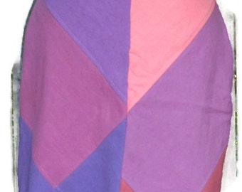 Hemp and Tencel Linen Bias Cut Drawstring Skirt Knee Length Aline Size Medium in Purples and Pinks