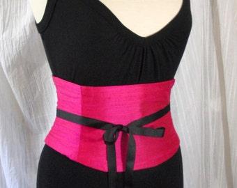 Waist Cincher Corset Belt Hot Pink Silk Any Size Custom B