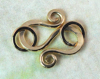 S Hook with Jumprings 14K Gold Filled, 20 gauge Handmade: 1 Clasp