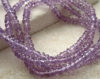 Pink Amethyst Faceted Rondelles 3mm - Half Strand 7 inches