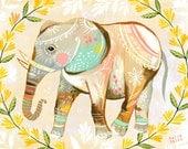 Elephant Print | Nursery Decor | Colorful Wall Art  | Katie Daisy | 8x10 | 11x14