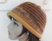 Hand Knit Wool Felted Cloche Hat for Women