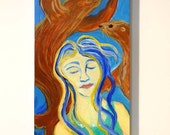 seal painting, original acrylic painting on wood, Seal Dreams