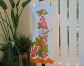 Vintage White Dress, 1960s Sleeveless Cotton Floral Damask Dress in with Bold Painted Flowers in Orange and Pink