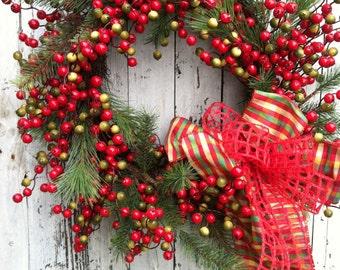 Berry Christmas Wreath, Christmas Wreath, Red Berry Pine Wreath, Christmas Door Wreath