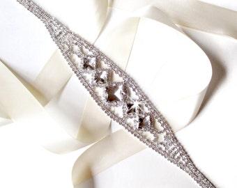 Marvelous Wedding Dress Sash with Rhinestones, Bridal Belt Sash - Custom Satin Ribbon - Silver and Crystal Wedding Dress Belt - Long